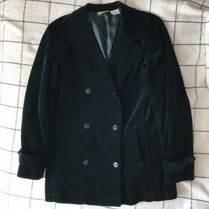Dark green velvet trench coat